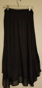 Black Asymmetrical Midi Skirt